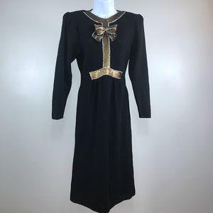 bullocks willshire black gold sequins bow dress 8